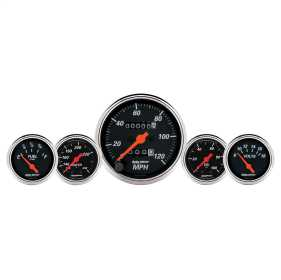 Designer Black™ 5 Gauge Set Fuel/Oil/Speedo/Volt/Water