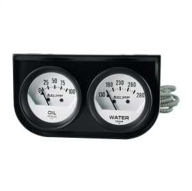 Autogage® White Oil/Water Gauge Black Console