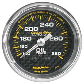Carbon Fiber™ Mechanical Oil Temperature Gauge