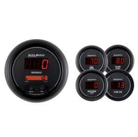 Sport-Comp™ Digital 5 Gauge Set Fuel/Oil/Speedo/Volt/Water