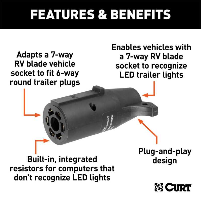 7-Way LED Trailer Light Adapter 57005
