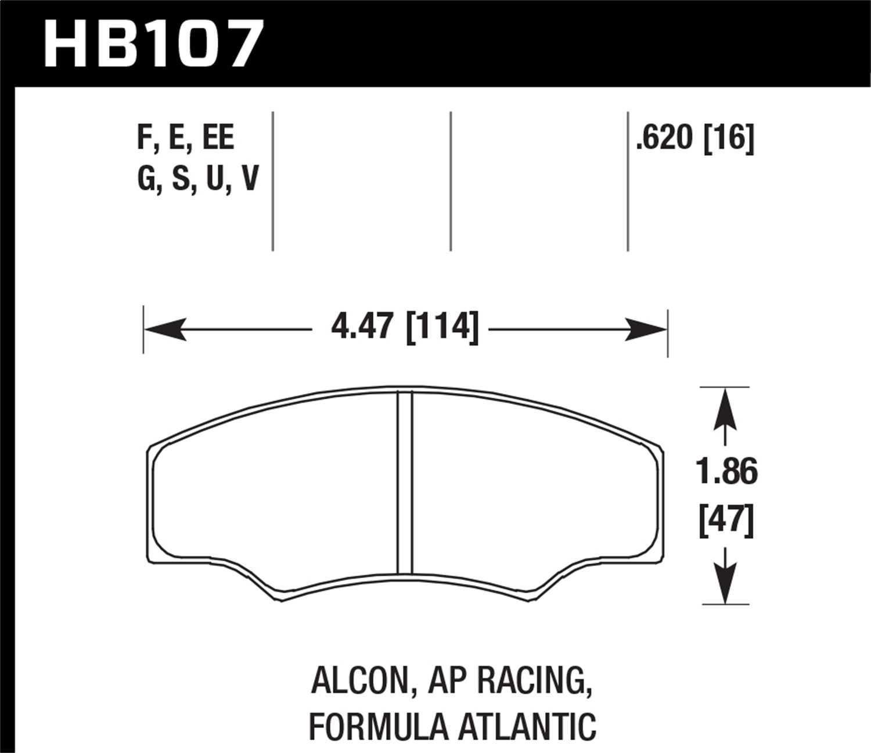 HB107U 620 Hawk Performance DTC-70 Disc Brake Pad HB107U 620