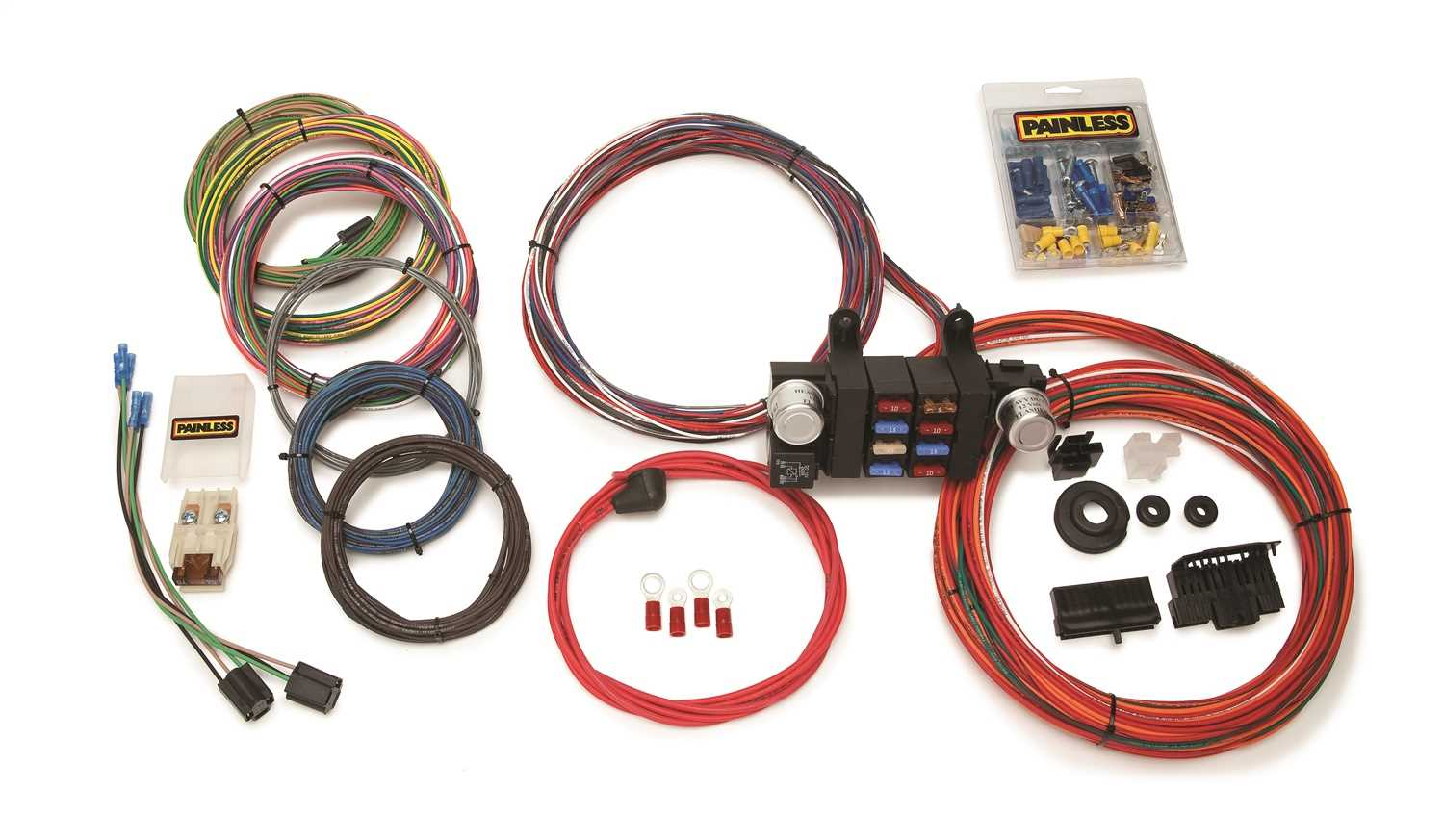 10308 Painless Wiring 18 Circuit Customizable Chis Harness 10308 on rover series 3 diesel harness, fuel injector harness, bully dog harness, horse team harness, 5.3 vortec swap harness, car harness, racing seat harness, radio harness, painless fuse box, painless engine harness, dodge ram injector harness, electrical harness, indestructible dog harness, ford 5.0 fuel injection harness, front lead dog harness, chevy tbi harness, duraspark harness, 5 point harness, horse driving harness, 1972 chevy truck harness,